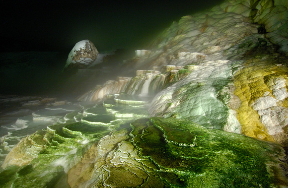 Mammoth Hot Springs at Night (Light Source Flash Light)