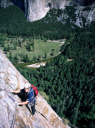 Climber High Up on East Buttress of Middle Cathedral, Yosemite