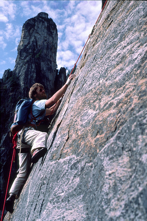 Climber on East Buttress of Middle Cathedral