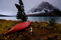 Canoe on the Shore of Bow Lake