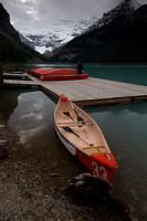 Canoes Ready to Launch at Lake Louise