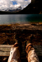 Hiker Rests Hiking Boots at Lake O'Hara